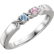 mothers rings 2 stones hugs and kisses mothers ring