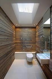 modern minimalist airy bathroom with stained wood plank wall panel