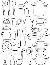 drawn kitchen cooking utensil pencil and in color drawn kitchen