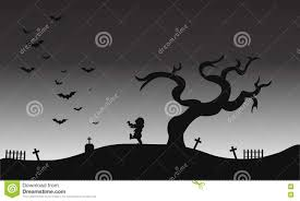 zombie and bat halloween scenery silhouette stock vector image