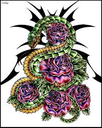 snake and roses tattoo design by cakekaiser on deviantart