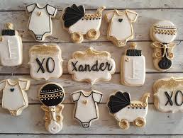 white and gold baby shower black white and gold baby shower cookies hayley cakes and cookies