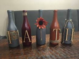 Home Decor Shelf by Faith Decor Painted Wine Bottles Upcycled Wine Bottles