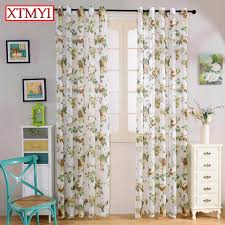 embroidered voile curtains bedroom sheer colorful flowers curtains