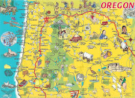 Map Of Washington Coast by Detailed Tourist Illustrated Map Of Oregon State Vidiani Com