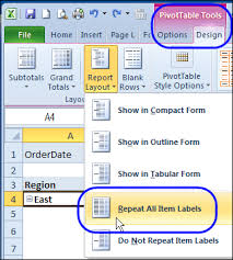 Excel 2010 Pivot Table Repeat Pivot Table Labels In Excel 2010 Excel Pivot Tablesexcel