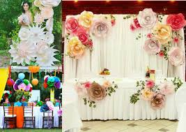 colorful paper flowers wedding reception décor ideas