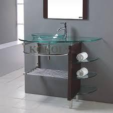 kokols wf 41 32 in tempered glass vessel sink bathroom vanity