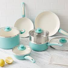 black friday pots and pans set greenpan nonstick 10 piece cookware set aqua west elm