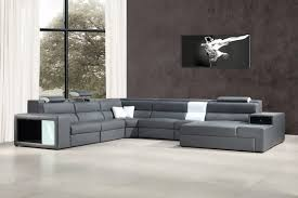 casa polaris contemporary bonded leather sectional sofa with lights