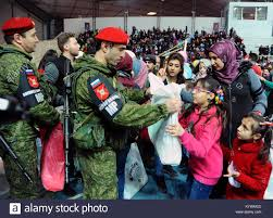 gifts to give the from the of honor damascus syria 16th jan 2018 russian soldiers give gifts to