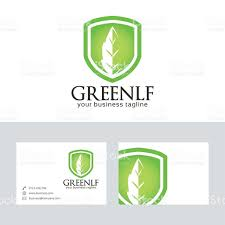 green leaf vector logo with business card template stock vector