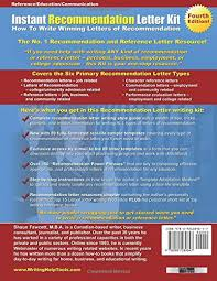 instant recommendation letter kit fourth edition how to write