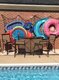 our solution for a backyard bar cargo net swimming pool float
