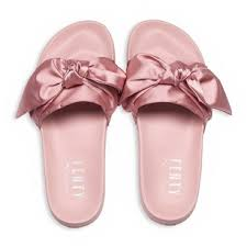 bandana bow pink silver slides rihanna fenty satin bandana bow slides