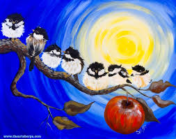 watercolor tutorial chickadee chickadee flock on an apple branch painting step by step tutorial
