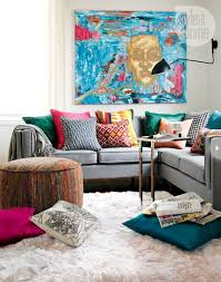 artistic living room design in small space with colorful curtains