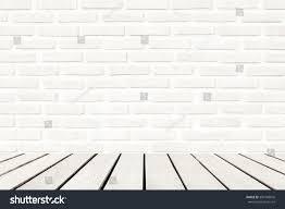 wood floor white brick wall interiors stock photo 394168816