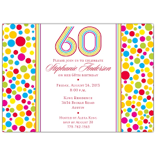 celebrate 60 birthday colorful dots 60th birthday invitations paperstyle