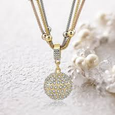 long necklace pendant images Rhinestone ball pendant gold plated long chain buyoncloud jpg