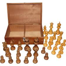 vintage turned u0026 carved wood chess set in box france from