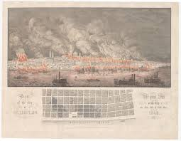 Map Of St Louis Dramatic Print And Map Of The 1849 Saint Louis Fire Rare