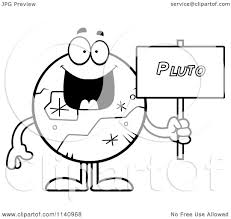 cartoon clipart of a black and white pluto holding a sign vector