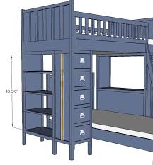 Build A Loft Bed With Storage by Ana White Dresser Bookshelf Support For Cabin Bunk System Diy