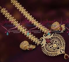 new necklace design images Nl7250 cz white peacock pendant jhumka gold plated finish necklace JPG