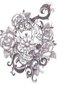 sugar skull with flowers zoeken drawing