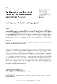 an overview and practical guide to irt measurement equivalence