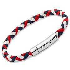 blue leather bracelet images Unttb a40gb aurum men 39 s red white and blue leather bracelet with jpg