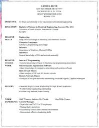 electrical engineering resume for internship hardware engineer resume