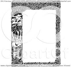 clipart of a retro vintage black and white woodland trellis and