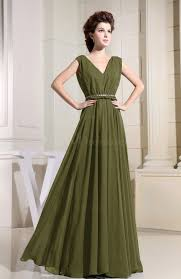 olive green casual v neck sleeveless chiffon pleated bridesmaid