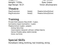Actor Resume Examples by Theatrical Resume Template Theatre Audition Templates Acting For