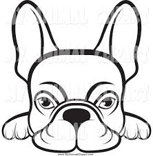 clip art of a lineart frenchie dog looking over a surface by lal