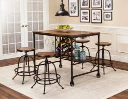 pub table with wine rack sunset trading 5 piece rustic elm industrial pub table set with