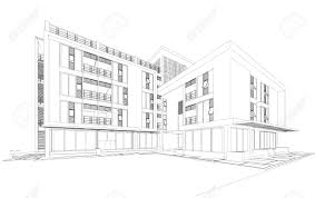 wireframe perspective of house 3d render of a building stock
