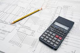 engineer architect design table with calculator and pencil stock