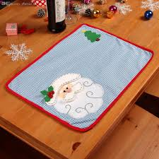 wholesale christmas placemats with napkin santa claus plaid