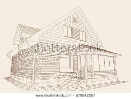Residential Plan Authors Design Residential House Blueprint Plan Stock Vector