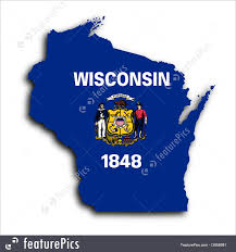 State Of Wisconsin Map by Flags Map Flag Of Wisconsin Stock Photo I3658981 At Featurepics