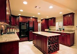 quartz countertops cherry wood cabinets kitchen lighting flooring