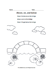 above on and below worksheets positional words