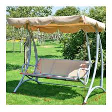 Outdoor Patio Swing by Aosom Outsunny Covered Outdoor Patio Swing Bench W Frame Sand
