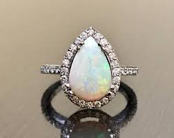 Opal Wedding Rings by Opal Engagement Ring Opal Halo Diamond Ring Pear Halo