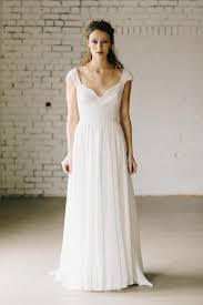 chiffon wedding dress a line ivory lace cap sleeve vintage chiffon wedding dresses