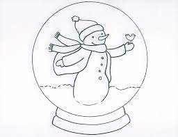 snow globe with snowman coloring page coloring home