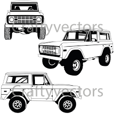jeep bronco white ford bronco vector file